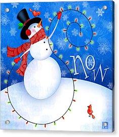 The Letter S For Snowman Acrylic Print by Valerie Drake Lesiak