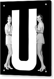 The Letter u And Two Women Acrylic Print by Underwood Archives