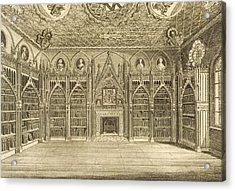 The Library, Engraved By Godfrey Acrylic Print by English School