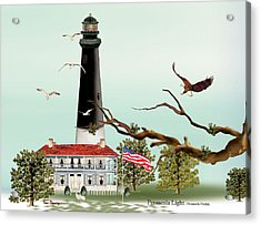 The Light House At Pensacola Acrylic Print by Anne Beverley-Stamps