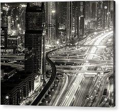 The Light River Of Dubai Acrylic Print