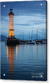 Acrylic Print featuring the photograph The Lighthouse Of Lindau By Night by Nick  Biemans