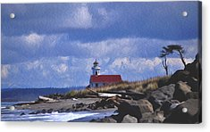 Acrylic Print featuring the digital art The Lighthouse With The Red Roof. by Timothy Hack