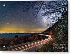 The Linn Cove Viaduct Milky Way Light Trails Acrylic Print