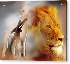 The Lion And The Lamb Acrylic Print by Jennifer Page