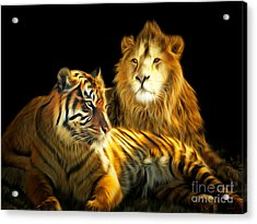 The Lions Den 201502113-2brun Acrylic Print by Wingsdomain Art and Photography
