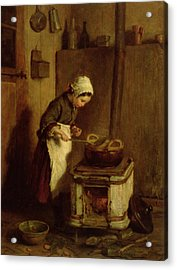 The Little Housekeeper Acrylic Print by Pierre Edouard Frere