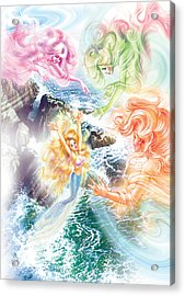 The Little Mermaid And Wind Daughters Acrylic Print by Zorina Baldescu