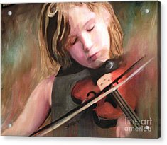 The Little Violinist Acrylic Print by Sharon Burger