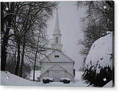 Acrylic Print featuring the photograph The Little White Church by Dora Sofia Caputo Photographic Art and Design