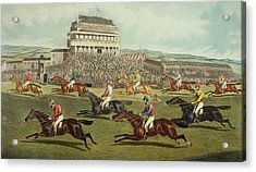 The Liverpool Grand National Steeplechase Coming In Acrylic Print by Charles Hunt and Son