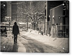 The Lonely Snowy Walk Acrylic Print