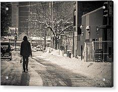 The Lonely Snowy Walk Acrylic Print by Douglas Adams