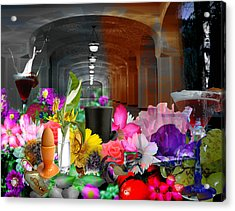 Acrylic Print featuring the digital art The Long Collage by Cathy Anderson