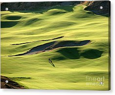 Acrylic Print featuring the photograph The Long Green Walk - Chambers Bay Golf Course by Chris Anderson
