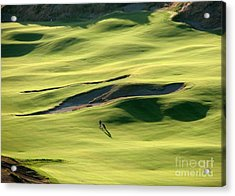 The Long Green Walk - Chambers Bay Golf Course Acrylic Print by Chris Anderson