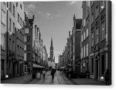 The Long Lane In Gdansk Bw Acrylic Print by Adam Budziarek