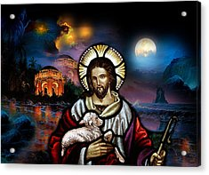 Acrylic Print featuring the digital art The Lord Is My Shepherd by Karen Showell