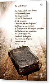 The Lord's Prayer And Bible Acrylic Print by Olivier Le Queinec