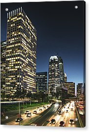 The Los Angeles Downtown Skyline On The Acrylic Print by Franckreporter