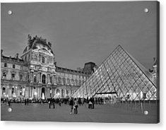 The Louvre Black And White Acrylic Print
