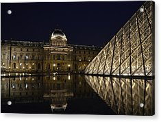 The Louvre Palace And The Pyramid At Night Acrylic Print by RicardMN Photography
