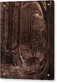 The Lovers In The Moon-lit Forest Acrylic Print by Litz Collection