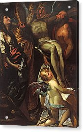 The Lowering Of The Cross With Sts Mary Magdalene Augustine Jerome And Angels Acrylic Print