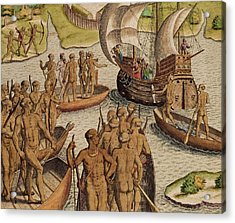 The Lusitanians Send A Second Boat Towards Me, From Americae Tertia Pars Acrylic Print