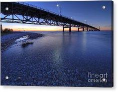 The Mackinac Bridge At Dusk Acrylic Print by Twenty Two North Photography