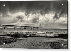 The Mackinac Bridge B W Acrylic Print