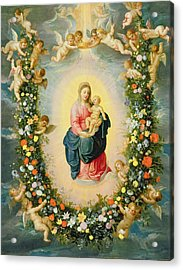 The Madonna And Child In A Floral Garland Acrylic Print