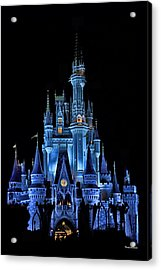 The Magic Kingdom Castle In Very Deep Blue Walt Disney World Fl Acrylic Print by Thomas Woolworth