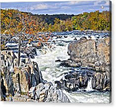 The Magnificent Autumn Waterfall Acrylic Print by Leslie Cruz