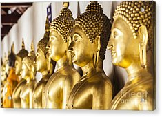 The Main Hall Of Wat Thardtong With Golden Buddha Statue Acrylic Print by Anek Suwannaphoom