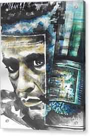 The Man In Black  Singer Johnny Cash Acrylic Print by Chrisann Ellis