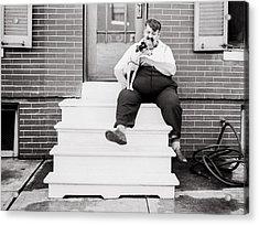 The Man With The Little Dog Circa 1938  Acrylic Print