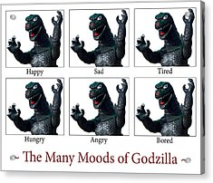 The Many Moods Of Godzilla Acrylic Print by William Patrick