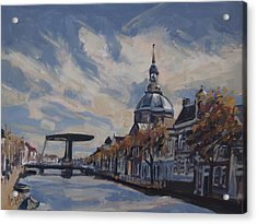 The Mare Church And Mare Bridge Leiden Acrylic Print