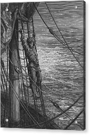 The Mariner Describes To His Listener The Wedding Guest His Feelings Of Loneliness And Desolation  Acrylic Print by Gustave Dore