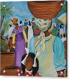 The Market Place Acrylic Print by Sonja Griffin Evans