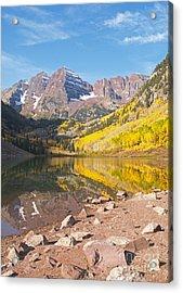 The Maroon Bells Near Aspen Colorado Acrylic Print by Alex Cassels