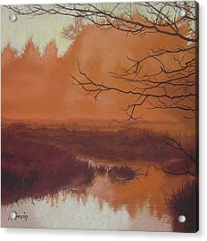 The Marsh Before The Sun Breaks Acrylic Print by Harvey Rogosin