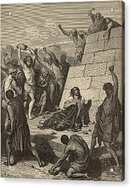The Martyrdom Of St. Stephen Acrylic Print by Antique Engravings