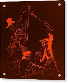 The Marx Brothers Orange Acrylic Print by Rob Hans
