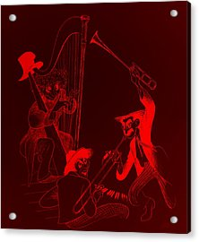 The Marx Brothers Red Acrylic Print by Rob Hans