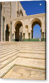 The Massive Colonnades Leading To The Hassan II Mosque Sour Jdid Casablanca Morocco Acrylic Print by PIXELS  XPOSED Ralph A Ledergerber Photography