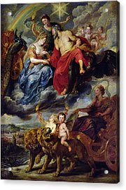The Medici Cycle Meeting Of Henri Iv 1553-1610 And Marie De Medici 1573-1642 At Lyon On 9th Acrylic Print