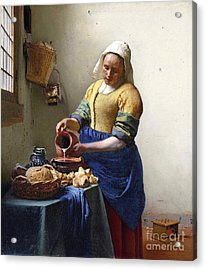 The Milkmaid Acrylic Print by Jan Vermeer