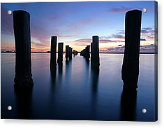 The Missing Pier At Sunset Acrylic Print by Daniel Woodrum